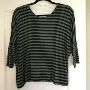 Black and Army Green Stripe Blouse, Twist back